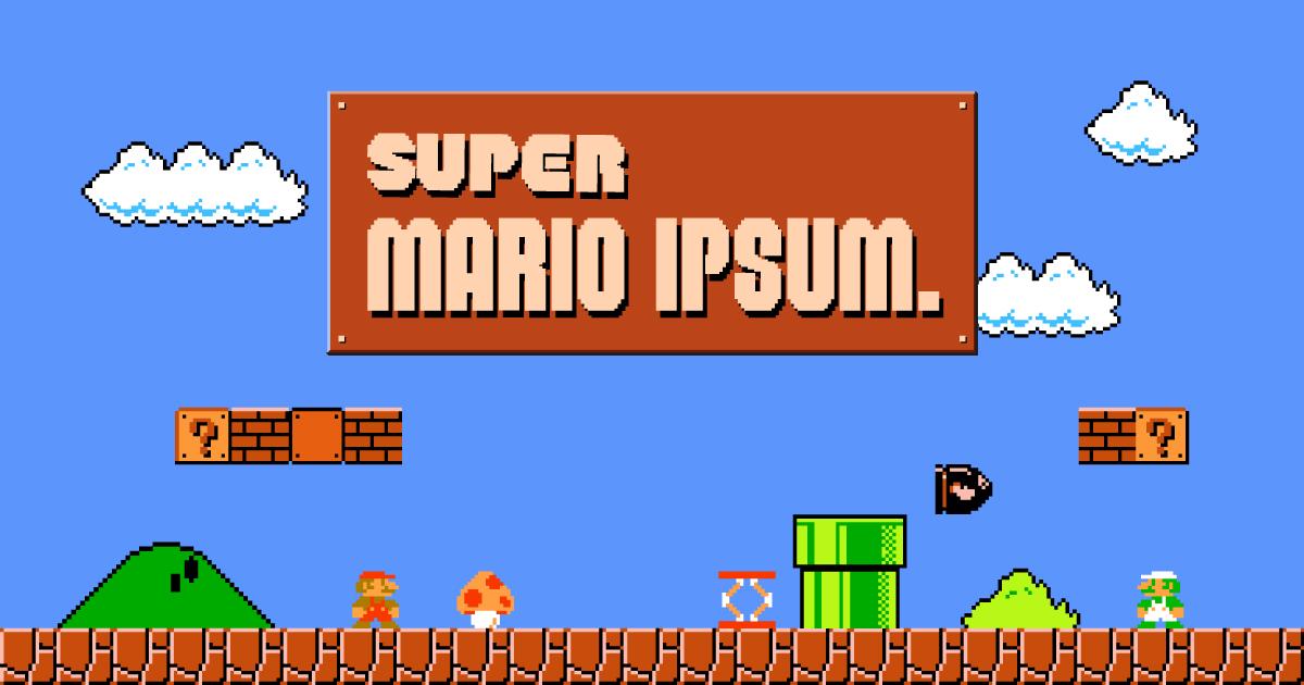 Beeld van Lorem Ipsum generator met als titel 'Super Mario Ipsum'.